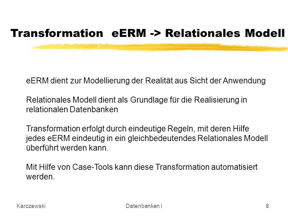 Transformation eERM -> Relationales Modell