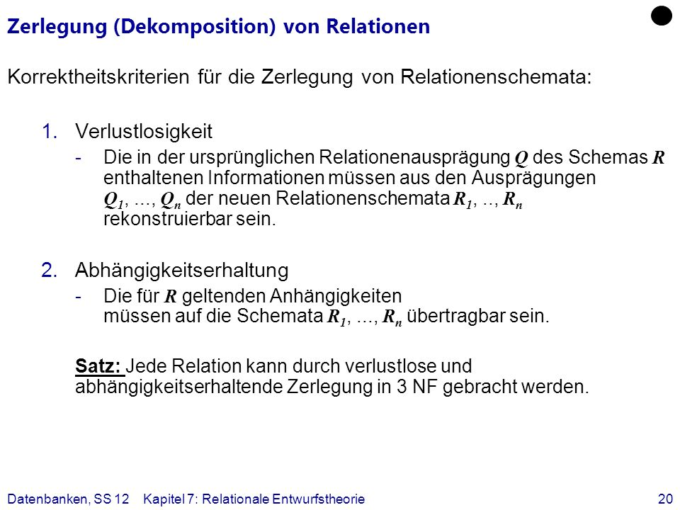 Zerlegung (Dekomposition) von Relationen