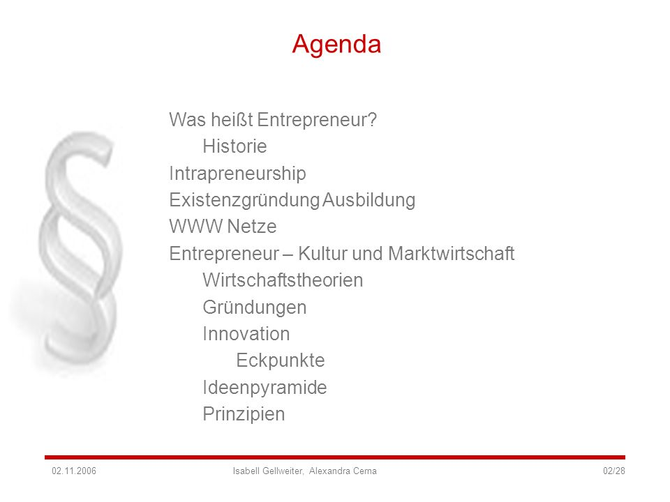 Agenda Was heißt Entrepreneur Historie Intrapreneurship