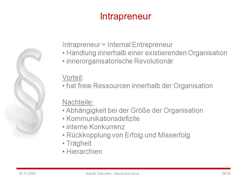 Intrapreneur Intrapreneur = Internal Entrepreneur