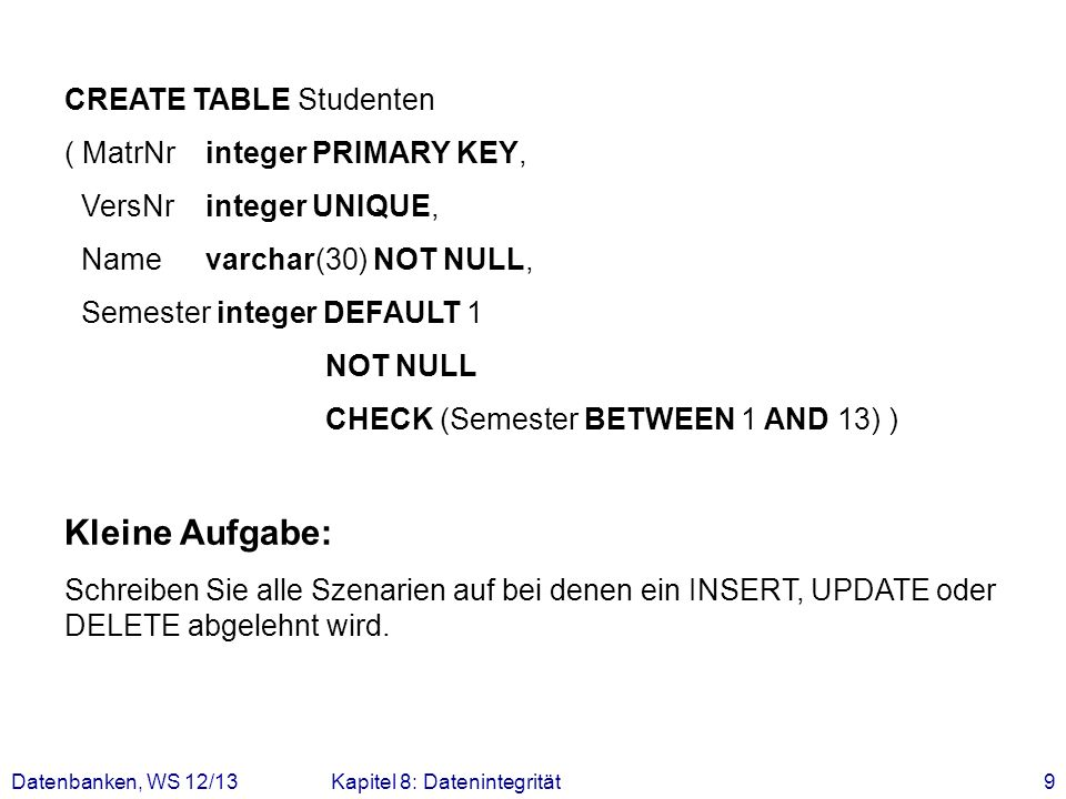 Kleine Aufgabe: CREATE TABLE Studenten ( MatrNr integer PRIMARY KEY,