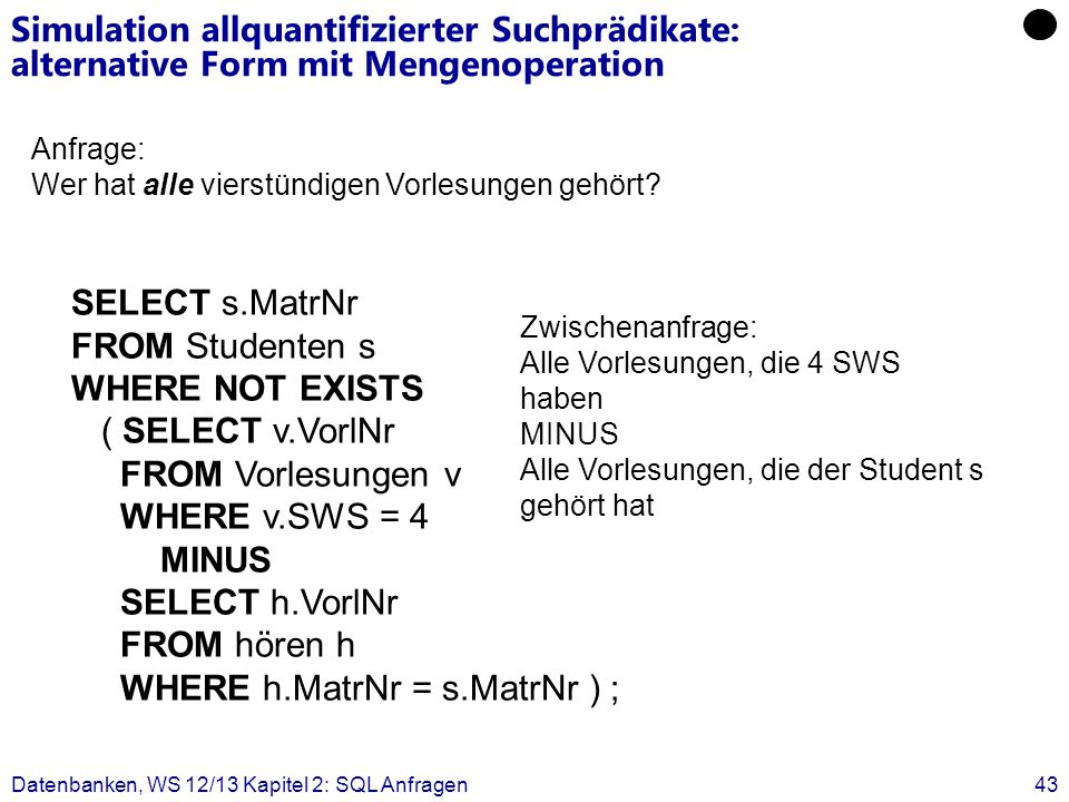 FROM Studenten s WHERE NOT EXISTS ( SELECT v.VorlNr FROM Vorlesungen v