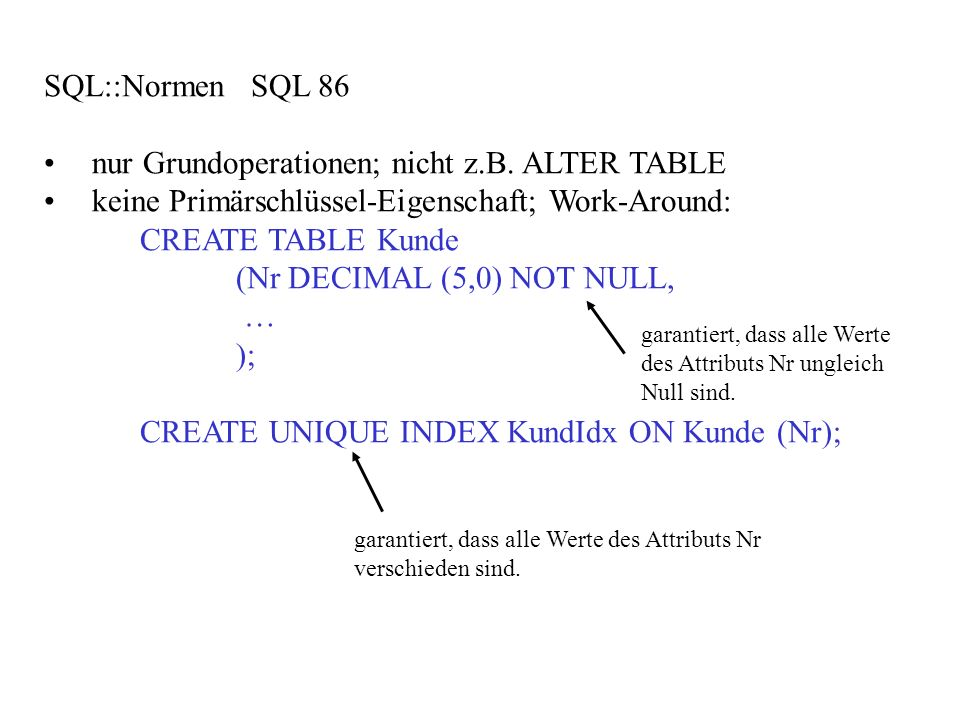 nur Grundoperationen; nicht z.B. ALTER TABLE