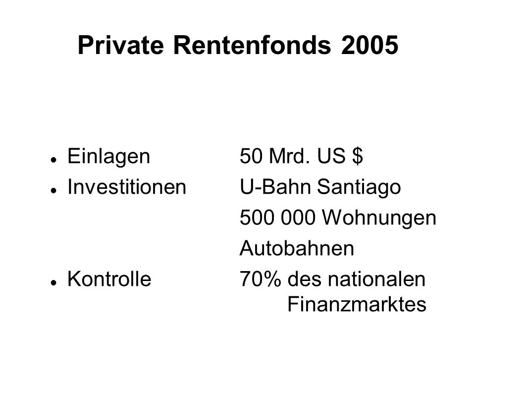 Private Rentenfonds 2005 Einlagen 50 Mrd. US $