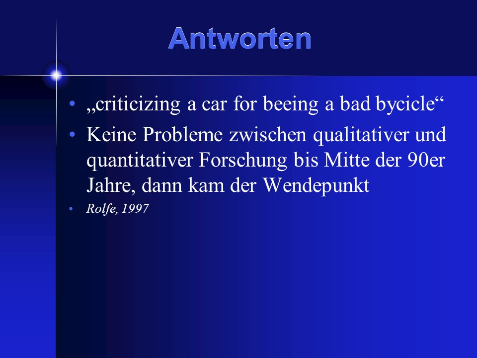 "Antworten ""criticizing a car for beeing a bad bycicle"