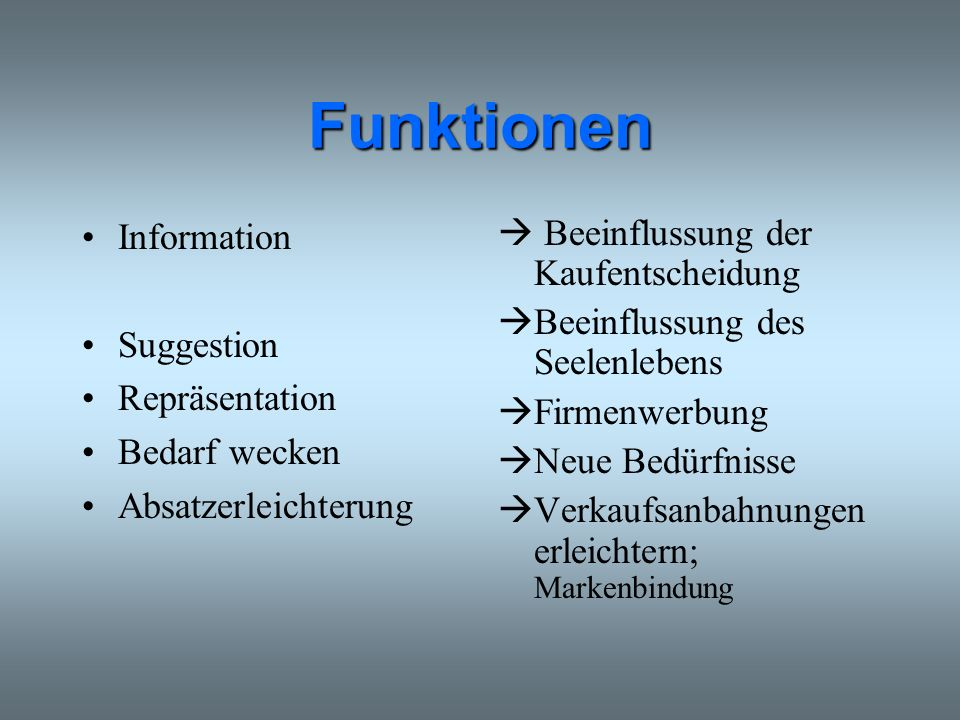 Funktionen Information Suggestion Repräsentation Bedarf wecken