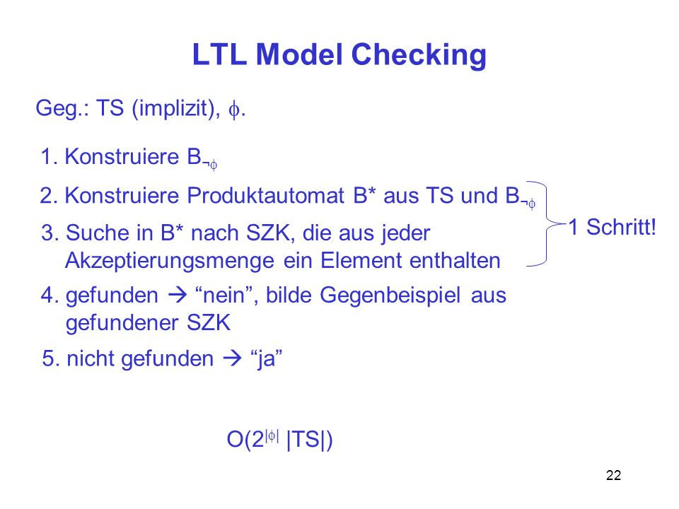 LTL Model Checking Geg.: TS (implizit), f. 1. Konstruiere B¬f