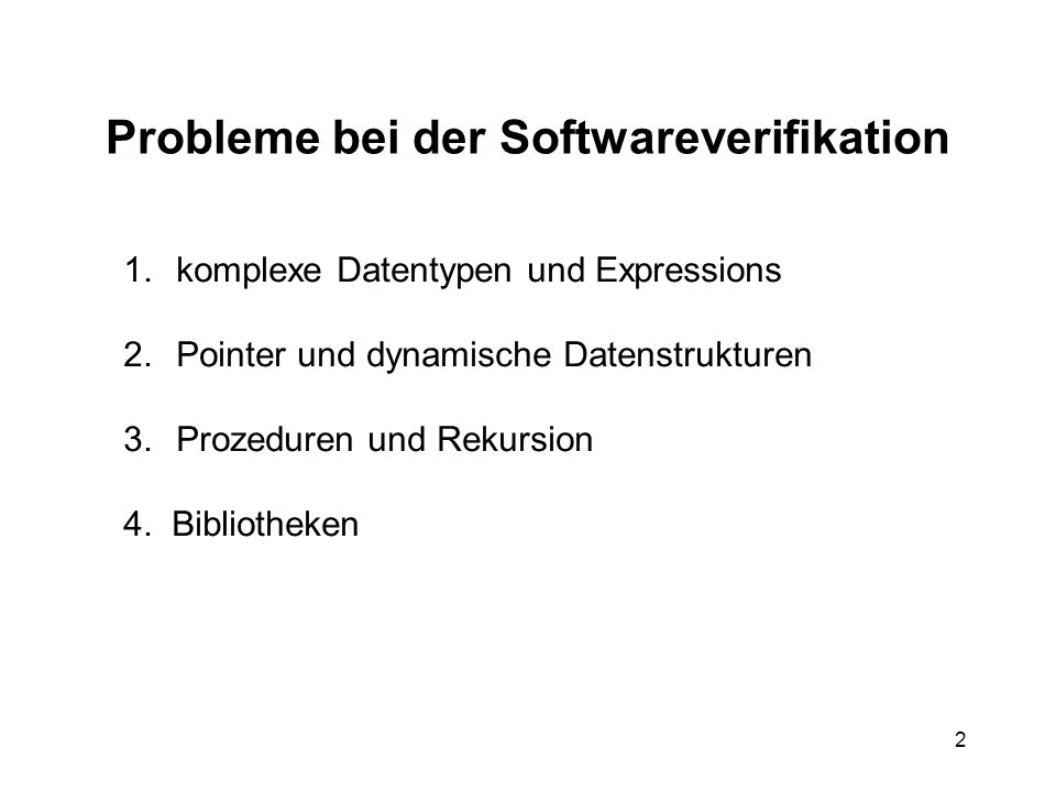 Probleme bei der Softwareverifikation