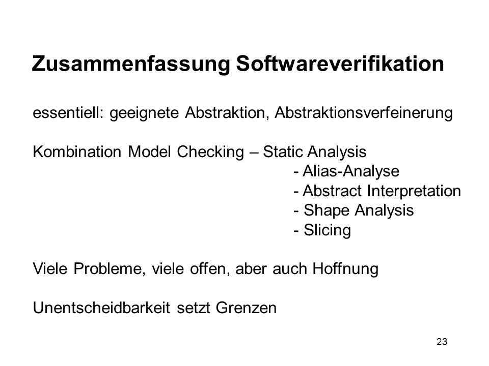 Zusammenfassung Softwareverifikation