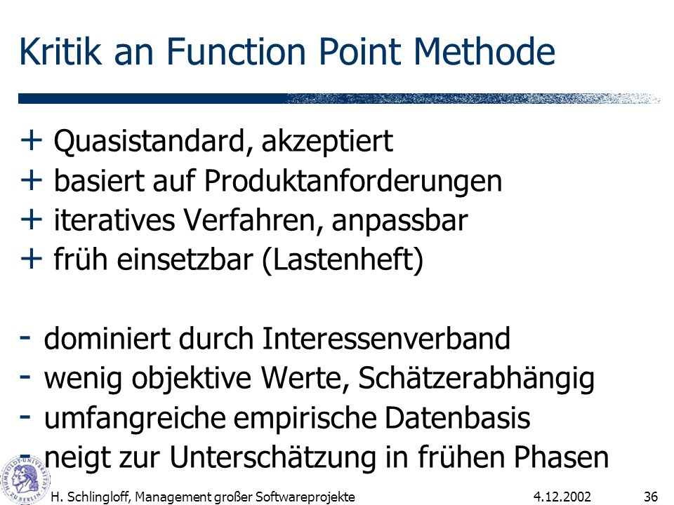 Kritik an Function Point Methode