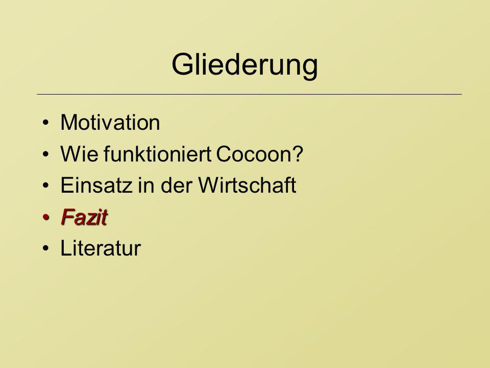 Gliederung Motivation Wie funktioniert Cocoon