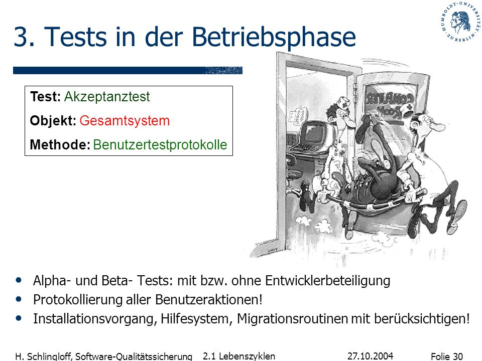 3. Tests in der Betriebsphase