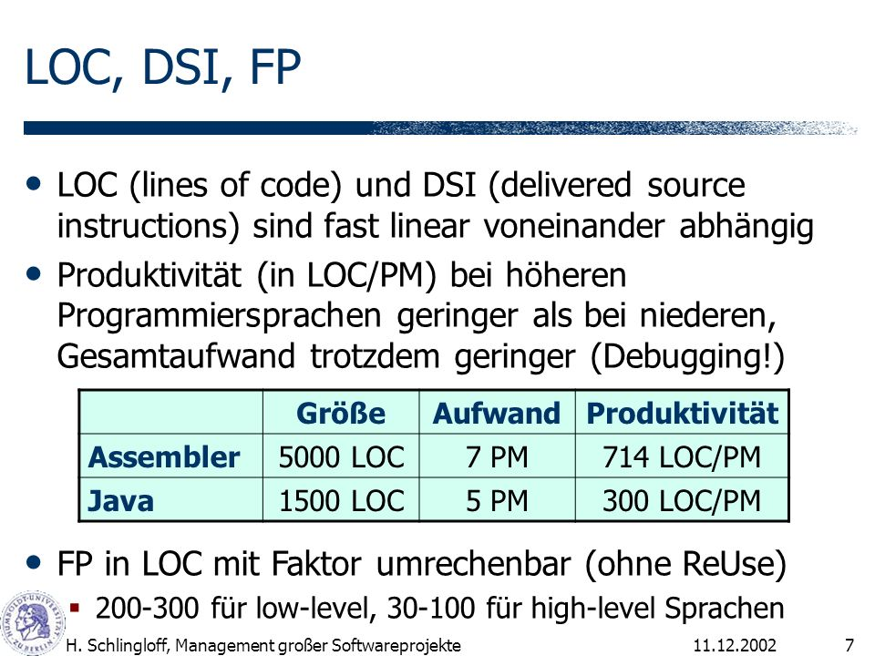 LOC, DSI, FP LOC (lines of code) und DSI (delivered source instructions) sind fast linear voneinander abhängig.