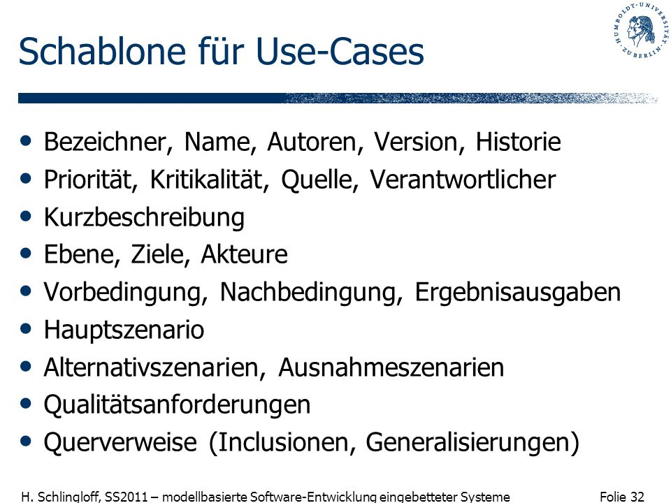 Schablone für Use-Cases
