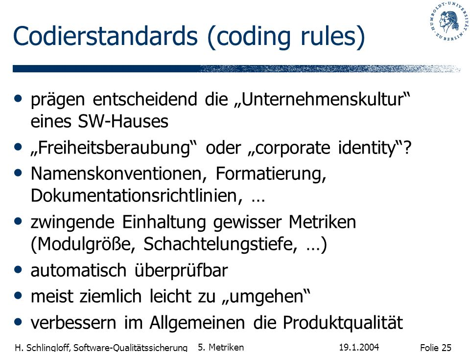 Codierstandards (coding rules)