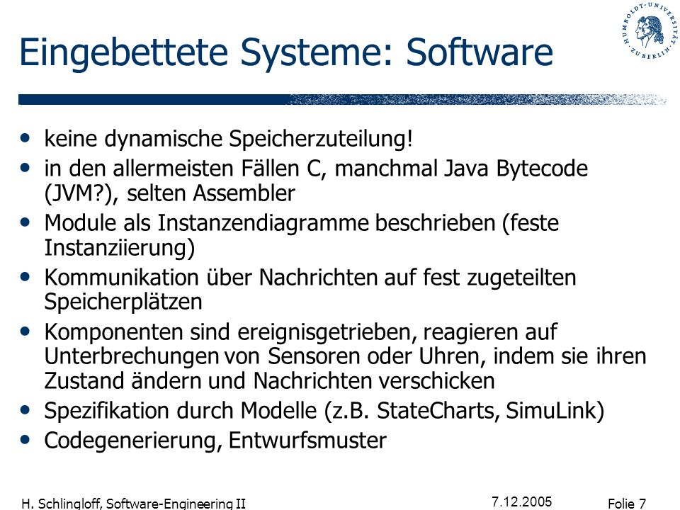 Eingebettete Systeme: Software