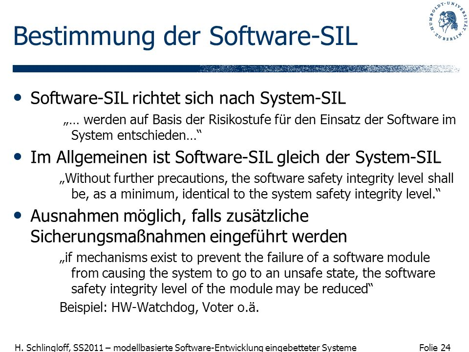 Bestimmung der Software-SIL