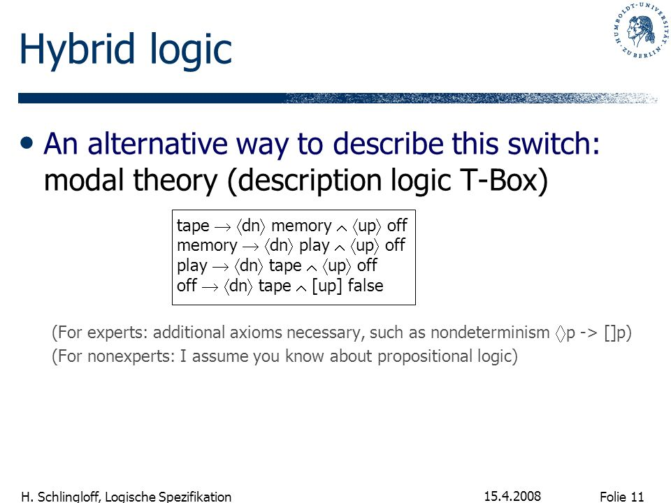 Hybrid logic An alternative way to describe this switch: modal theory (description logic T-Box)