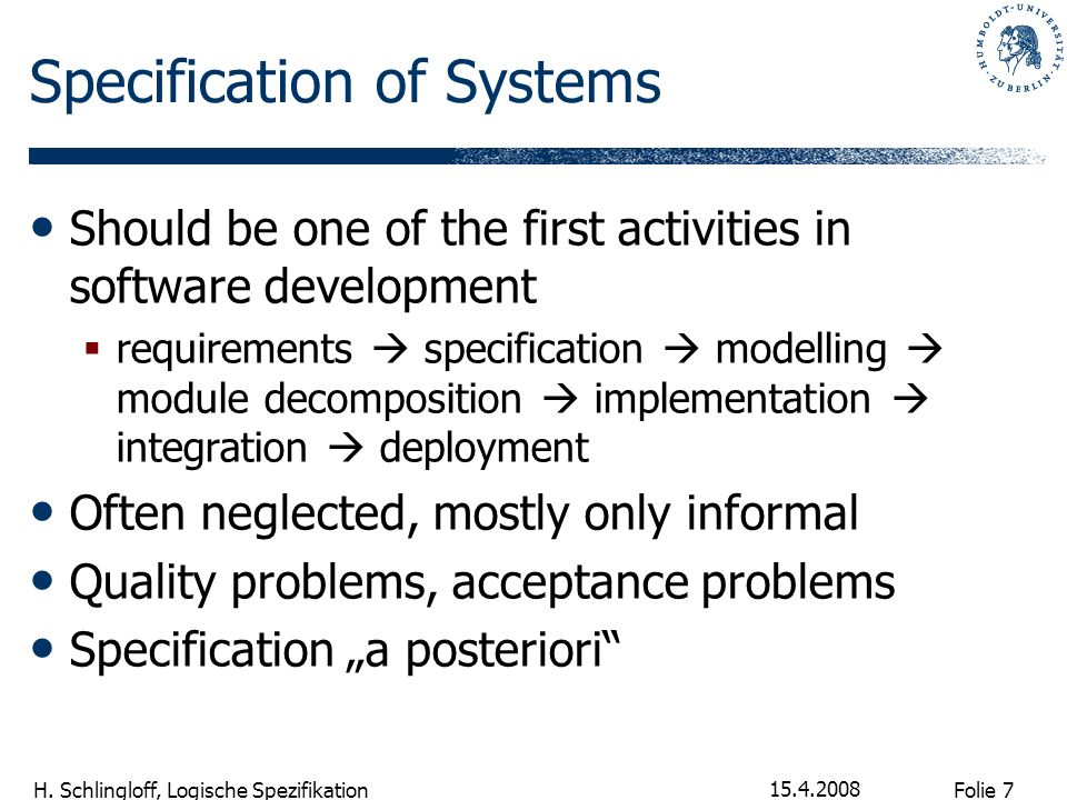 Specification of Systems