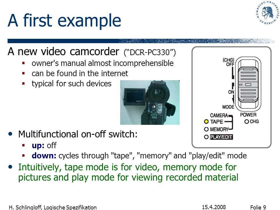 A first example A new video camcorder ( DCR-PC330 )