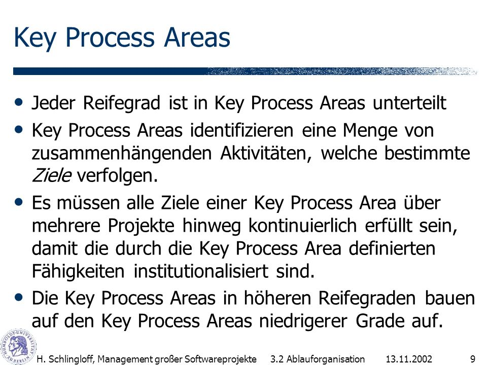 Key Process Areas Jeder Reifegrad ist in Key Process Areas unterteilt