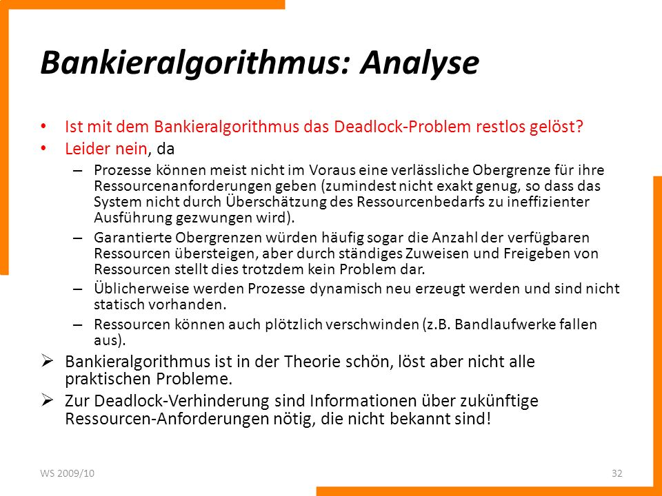 Bankieralgorithmus: Analyse