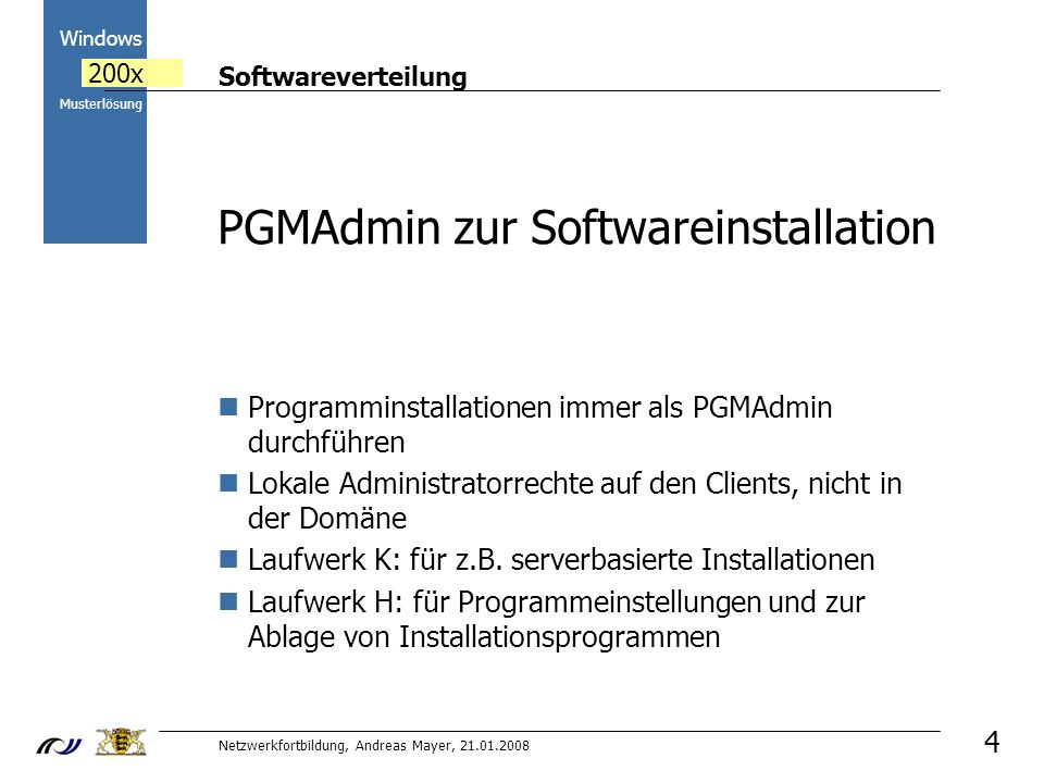 PGMAdmin zur Softwareinstallation