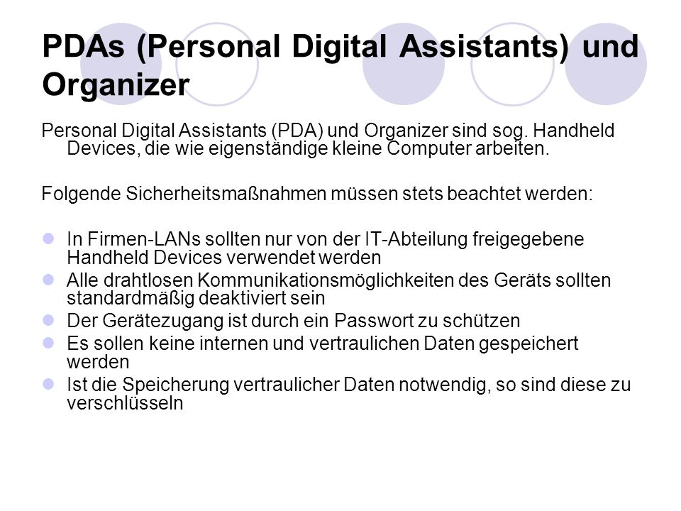 PDAs (Personal Digital Assistants) und Organizer