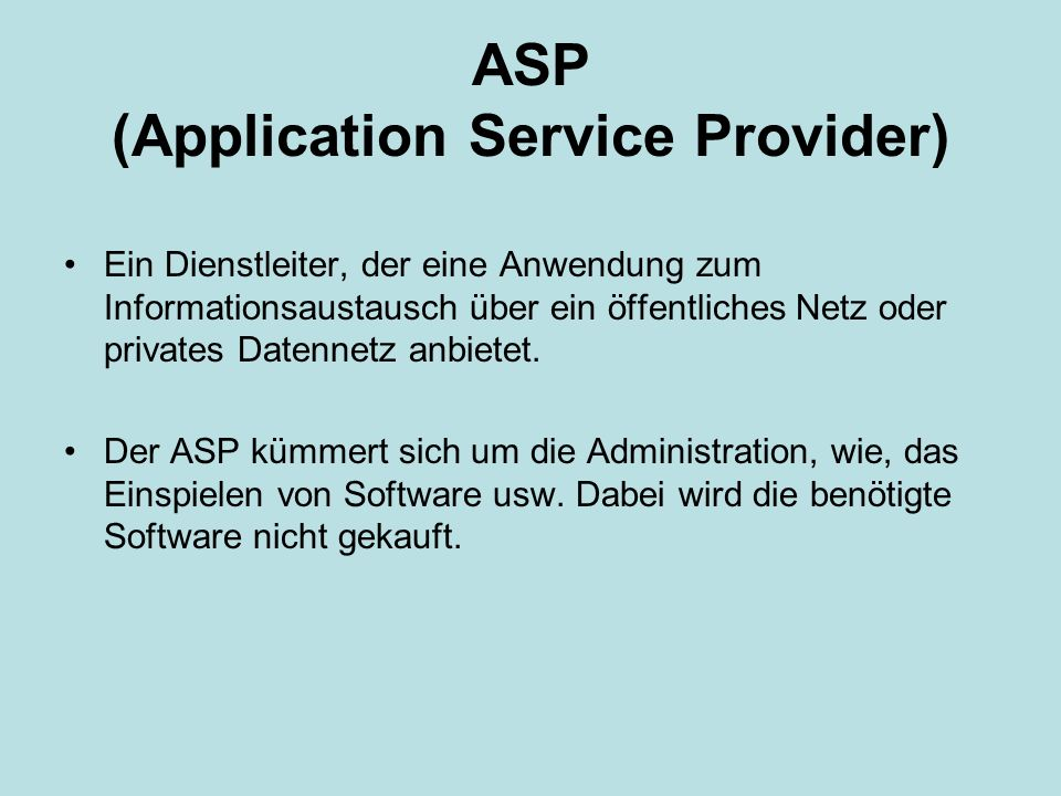 ASP (Application Service Provider)