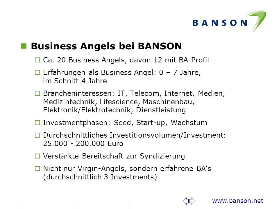 Business Angels bei BANSON