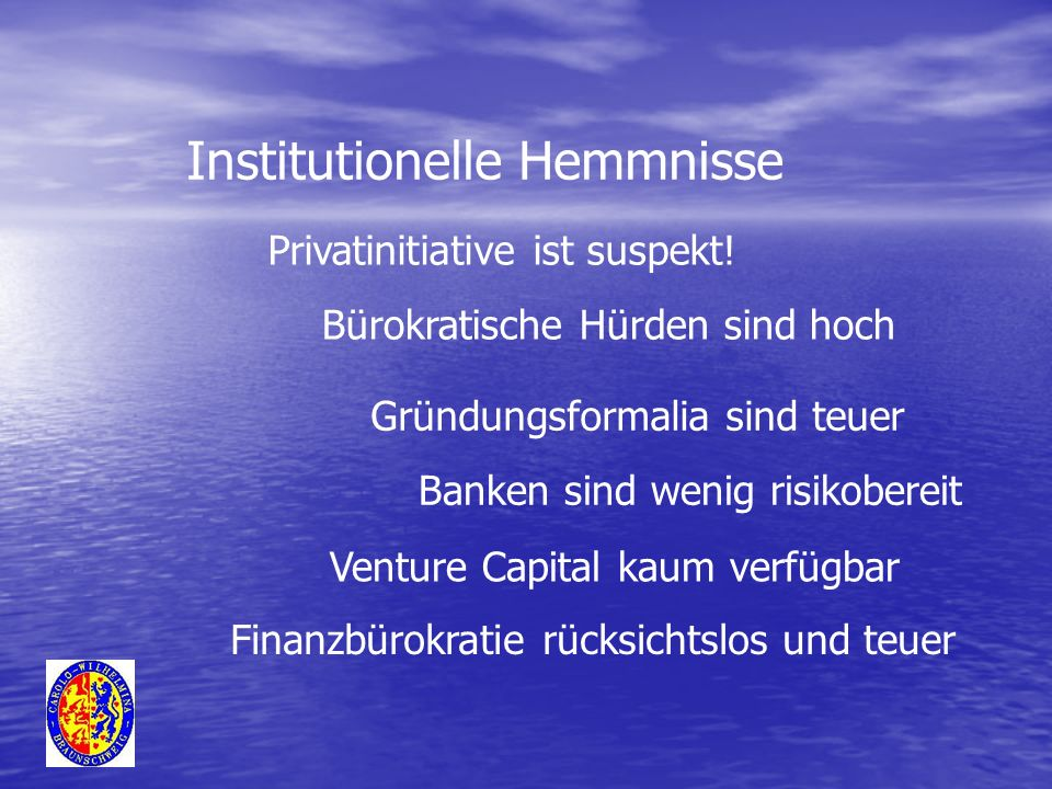 Institutionelle Hemmnisse