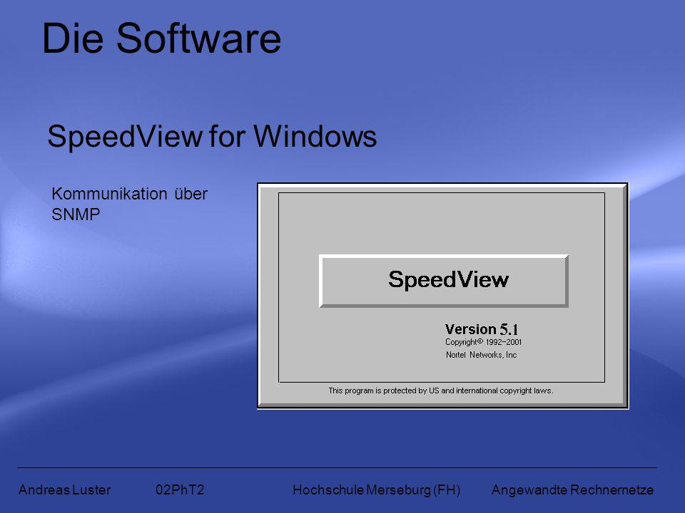Die Software SpeedView for Windows Kommunikation über SNMP