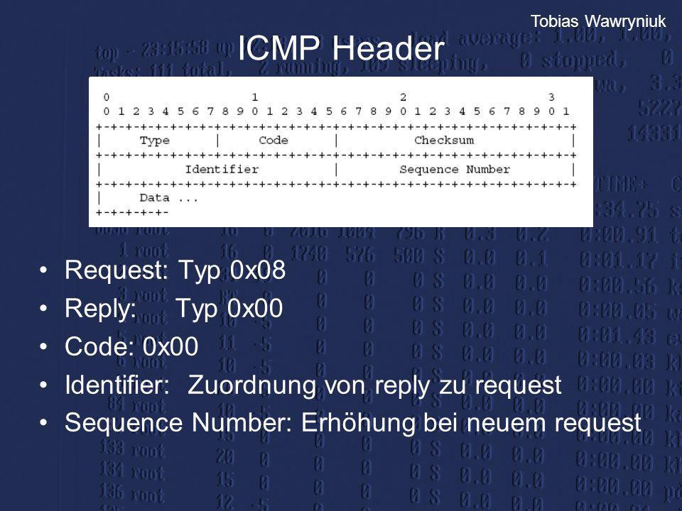 ICMP Header Request: Typ 0x08 Reply: Typ 0x00 Code: 0x00
