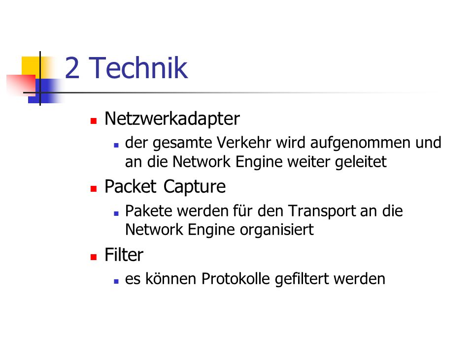 2 Technik Netzwerkadapter Packet Capture Filter