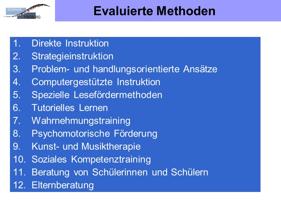 Evaluierte Methoden Direkte Instruktion Strategieinstruktion