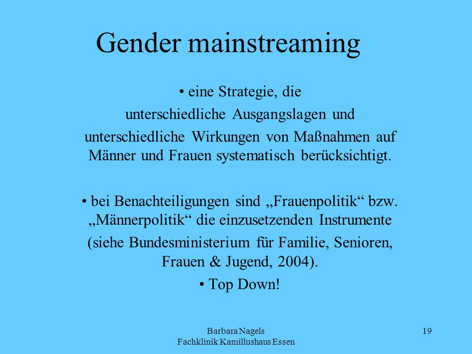 Gender mainstreaming eine Strategie, die
