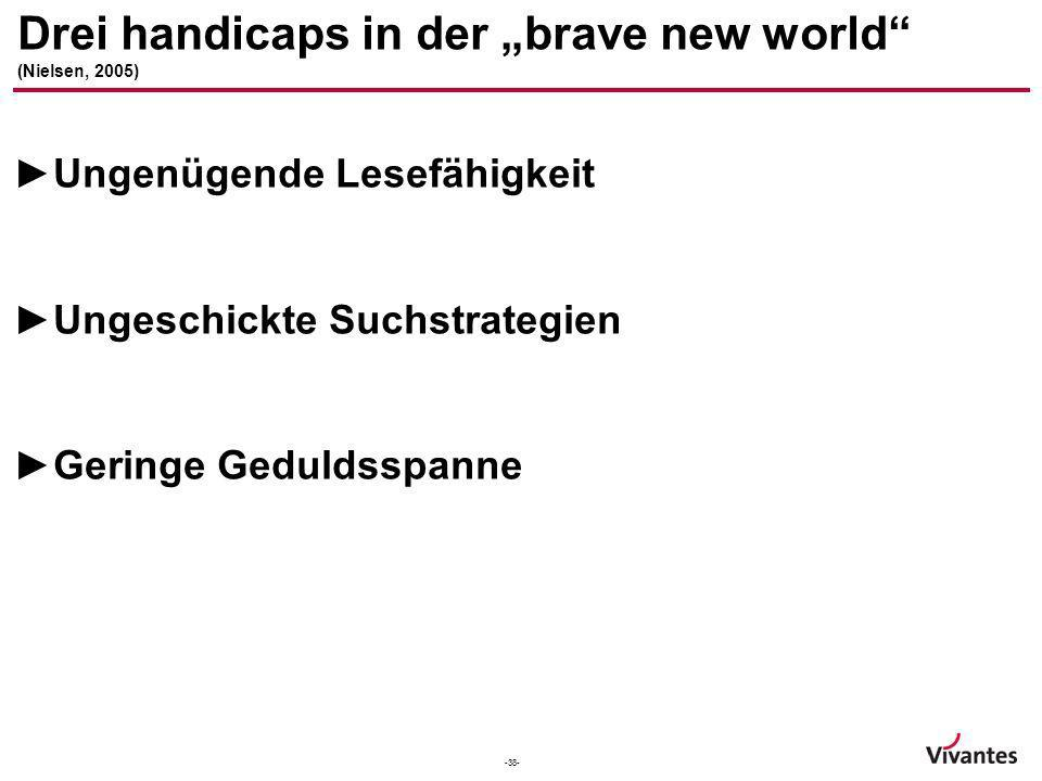 "Drei handicaps in der ""brave new world (Nielsen, 2005)"