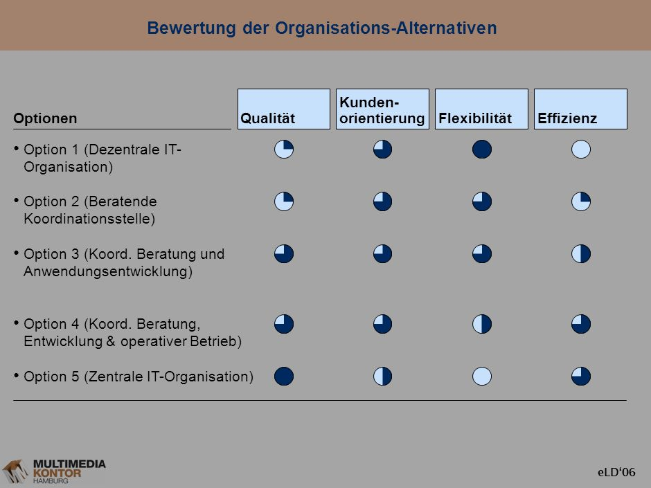 Bewertung der Organisations-Alternativen