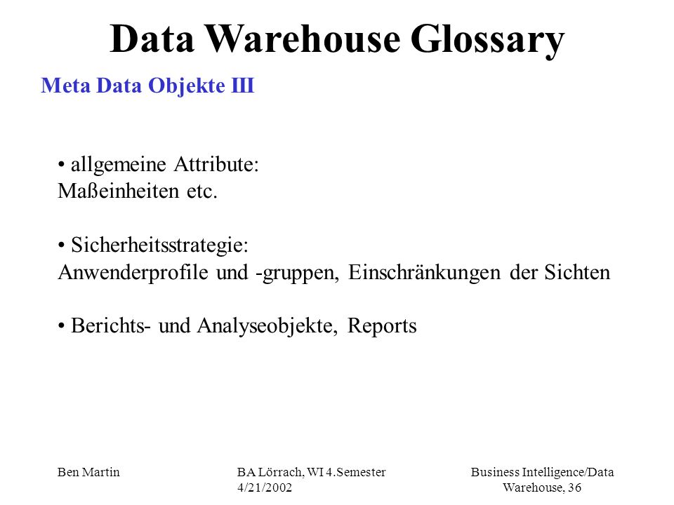 Data Warehouse Glossary