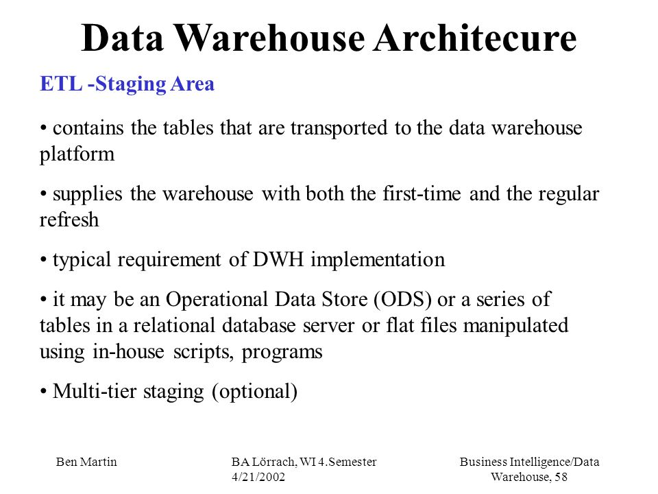Data Warehouse Architecure