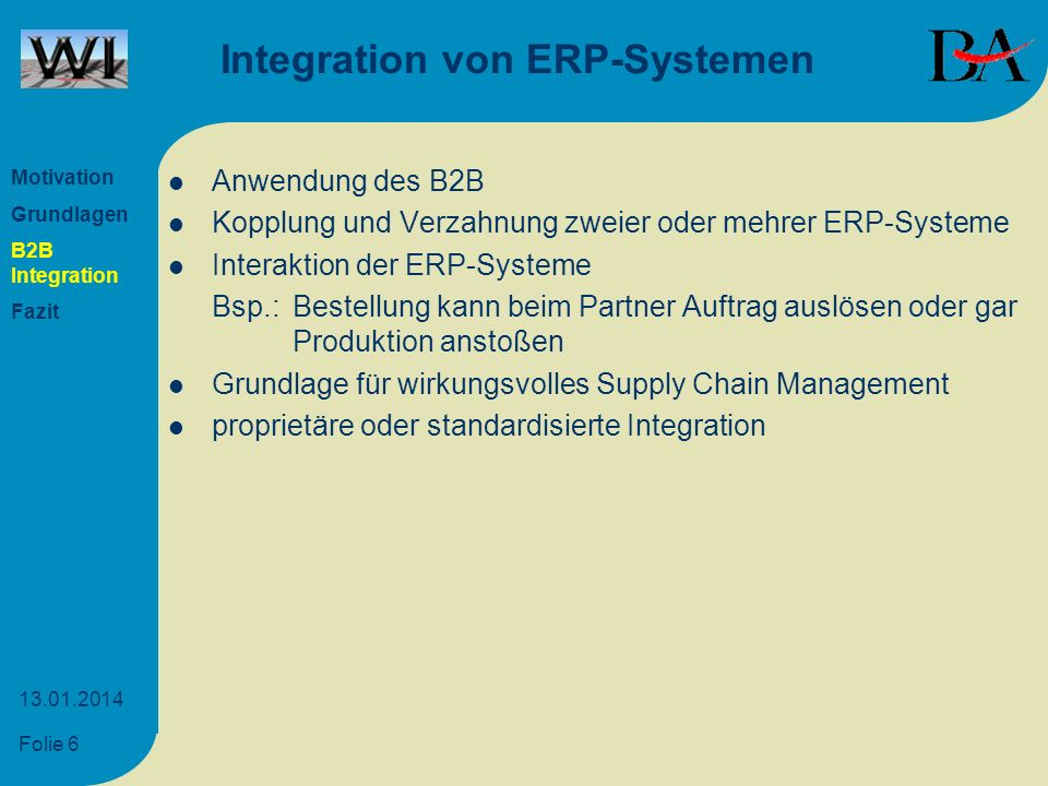 Integration von ERP-Systemen