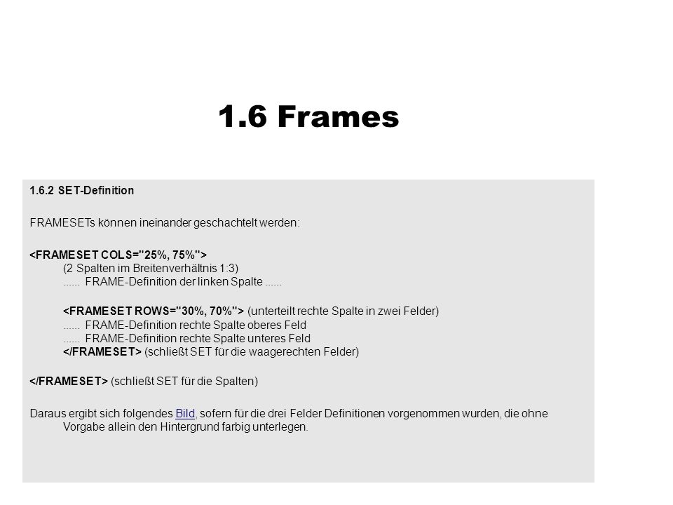 1.6 Frames SET-Definition