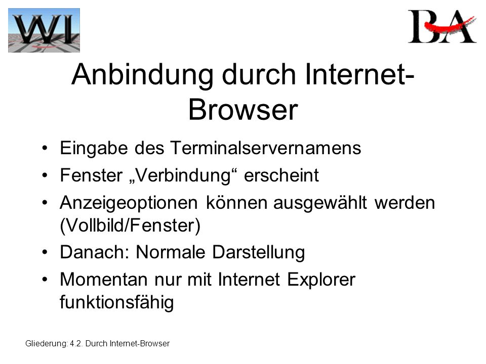 Anbindung durch Internet-Browser