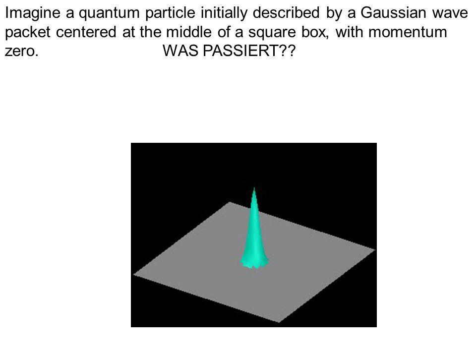 Imagine a quantum particle initially described by a Gaussian wave packet centered at the middle of a square box, with momentum zero.