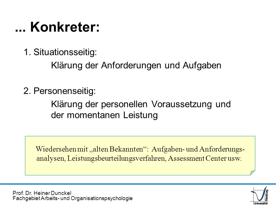 ... Konkreter: 1. Situationsseitig: