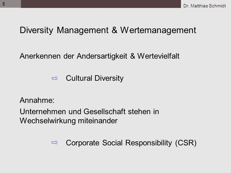 Diversity Management & Wertemanagement