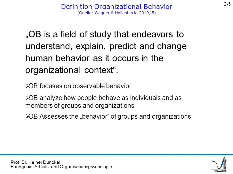 2-3 Definition Organizational Behavior. (Quelle: Wagner & Hollenbeck, 2010, 5)