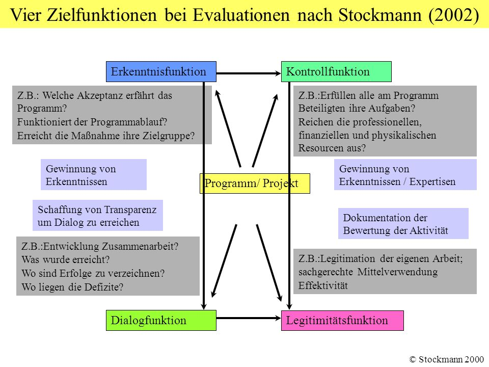 Vier Zielfunktionen bei Evaluationen nach Stockmann (2002)