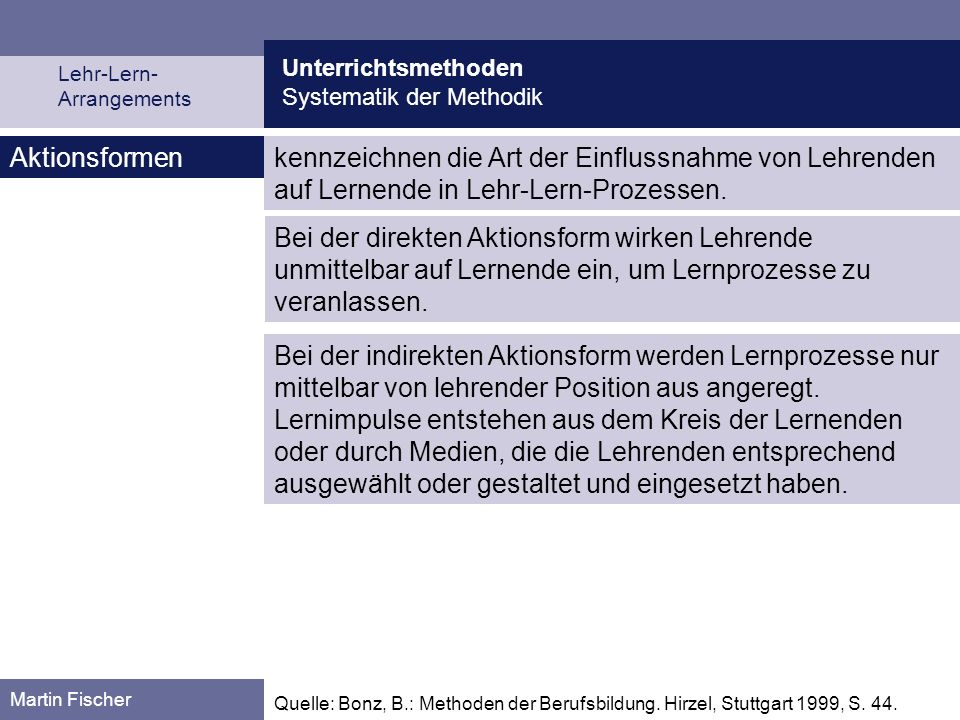 Unterrichtsmethoden Systematik der Methodik. Lehr-Lern- Arrangements. Aktionsformen.