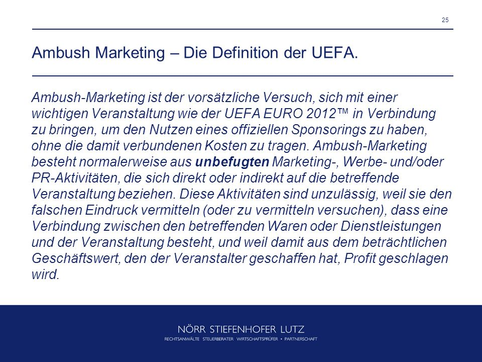 Ambush Marketing – Die Definition der UEFA.